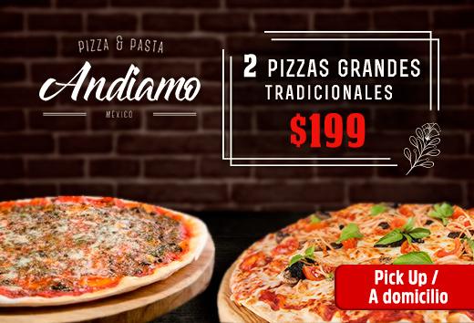 2 pizzas grandes tradicionales $199
