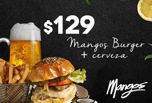 Mangos Burger + cerveza $129